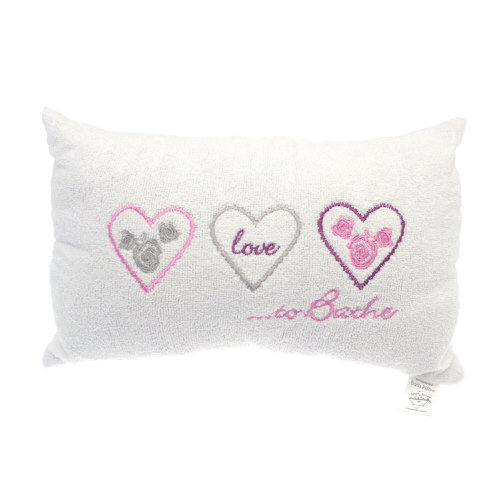 """""""Love To Bathe"""" Embellished Bath Pillow in Cream"""
