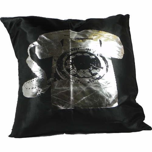 Cushion Covers Metallic Telephone Black Pack of 2