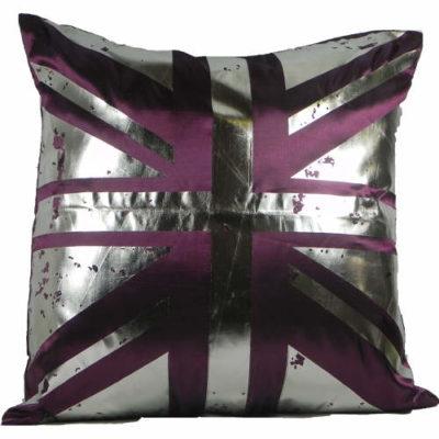 Cushion Covers Metallic Union Jack Plum Pack of 2