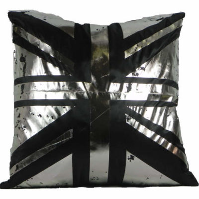 Cushion Covers Metallic Union Jack Black Pack of 2