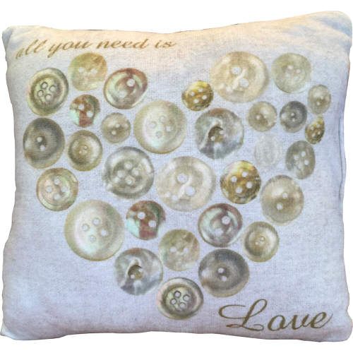 """Country Craft Filled Cushion Button Heart """"All You Need Is Love"""""""