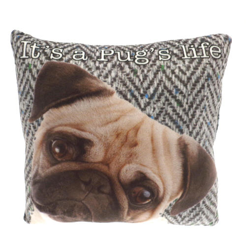 """Country Craft Filled Cushion Pug """"Its A Pugs Life"""""""