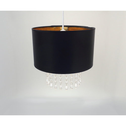 Club Country Easy Fit Pendant Black & Gold Lampshade with Hanging Crystals 30cm