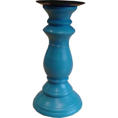 Pillar Candle Holder Blue 19cm