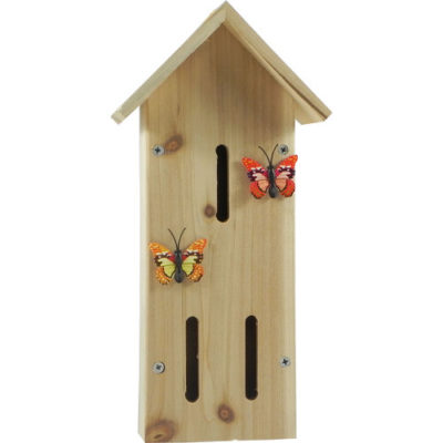 Wooden Insect House with Butterfly Decor Red & Orange