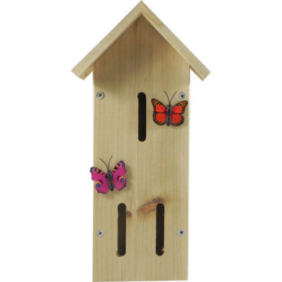 Wooden Insect House with Butterfly Decor Red & Pink