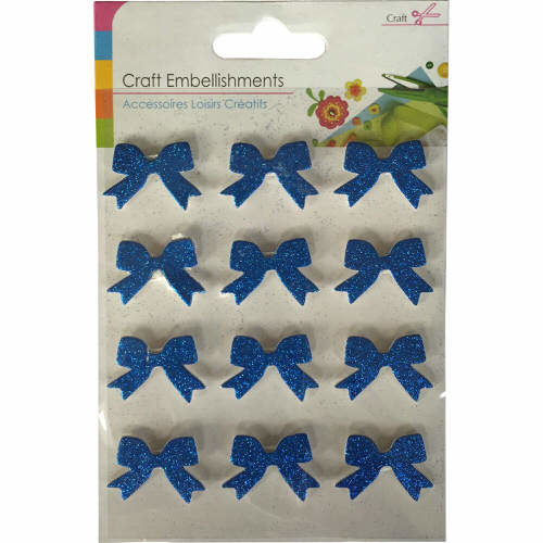 Craft Adhesive Bow Shaped Embellishments Pack of 12 in Blue Glitter