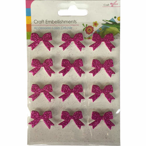 Craft Adhesive Bow Shaped Embellishments Pack of 12 in Pink Glitter