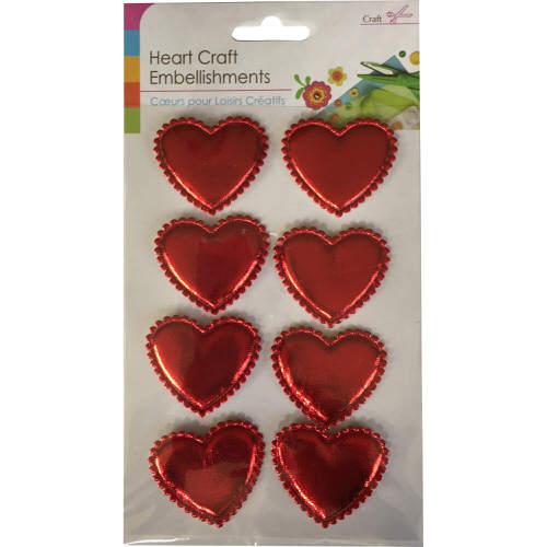 Craft Adhesive Heart Shaped Embellishments Pack of 8 in Red