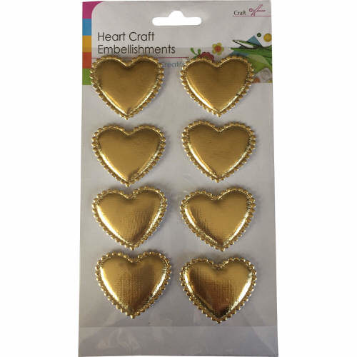 Craft Adhesive Heart Shaped Embellishments Pack of 8 in Gold
