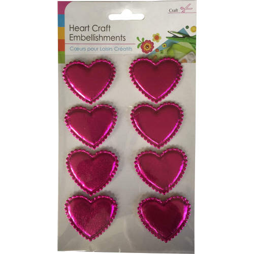 Craft Adhesive Heart Shaped Embellishments Pack of 8 in Pink