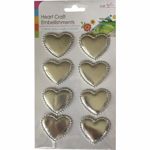 Craft Adhesive Heart Shaped Embellishments Pack of 8 in Silver