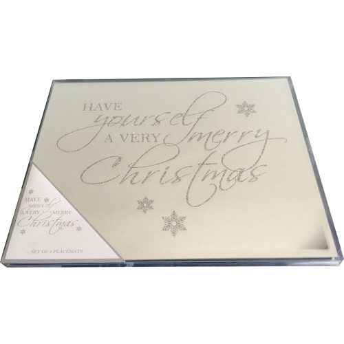 Glass Glitter Christmas Tablemats Pack of 2 - Have Yourself A Merry Little Christmas