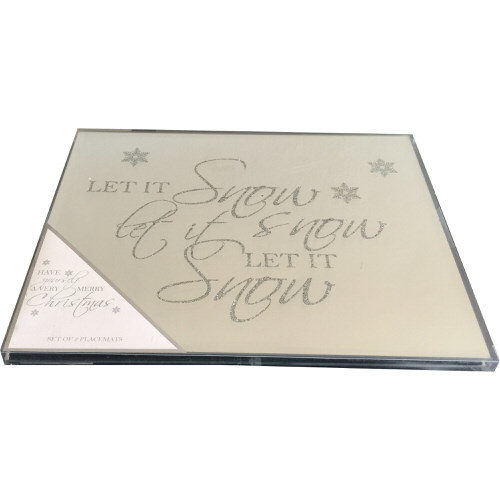 Glass Glitter Christmas Tablemats Pack of 2 - Let It Snow