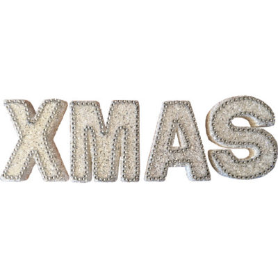 """Freestanding Glitter """"Xmas"""" Sign in in white with Diamante Beads"""