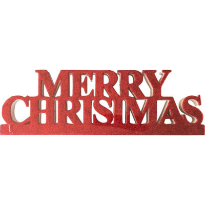 """Freestanding Glitter """"Merry Christmas"""" Sign in Red"""