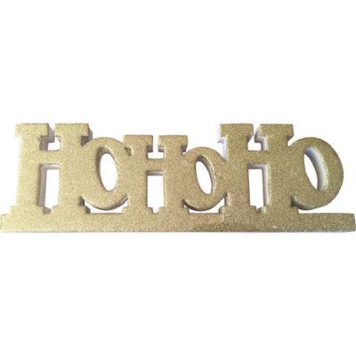 """Freestanding Glitter """"Ho Ho Ho"""" Sign in Gold"""