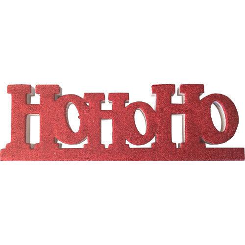 """Freestanding Glitter """"Ho Ho Ho"""" Sign in Red"""