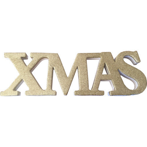 """Freestanding Glitter """"Xmas"""" Sign in Gold"""