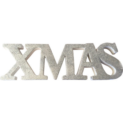 """Freestanding Glitter """"Xmas"""" Sign in Silver"""