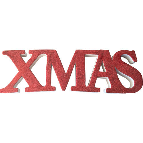 """Freestanding Glitter """"Xmas"""" Sign in Red"""
