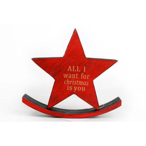 Christmas Wooden Rocking Star - All I Want For Christmas Is You