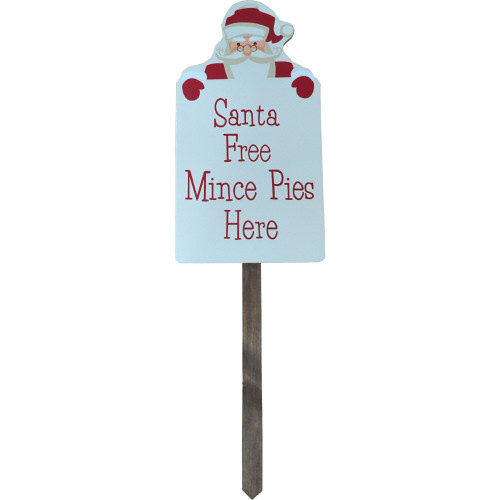 "Santa Stop Here Sign ""Santa Free Mince Pies Here"""
