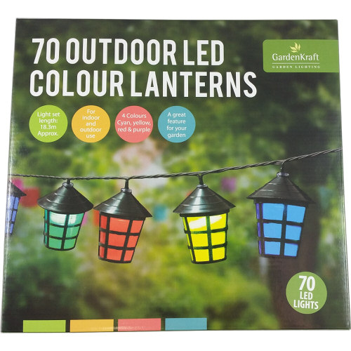LED Outdoor Coloured Lantern Lights Pack Of 70