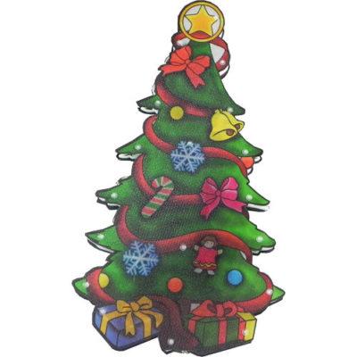 Christmas Decoration Light Up Metallic Xmas Tree Silhouette with LED bulbs 45cm