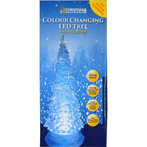 Colour Changing LED Tree with Glitter 27cm