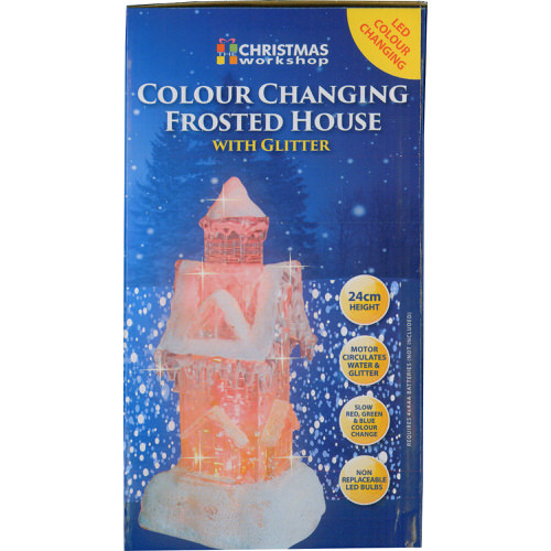 Colour Changing Frosted House with Glitter 24cm