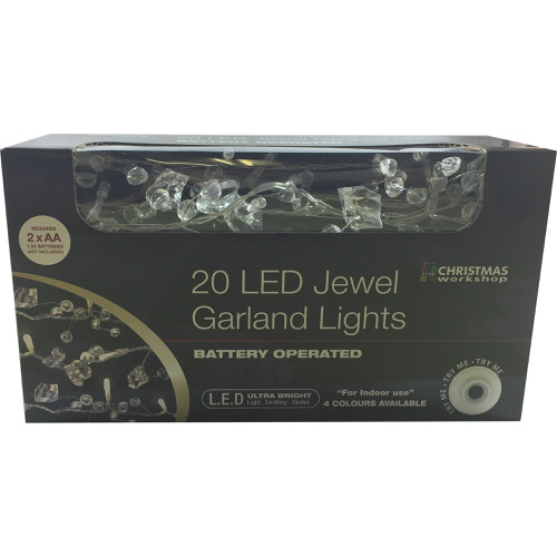 Battery Operated LED Jewelled Garland Lights with Clear Jewels Set of 20