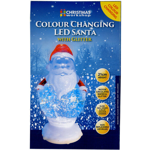 Colour Changing Santa with Glitter 21cm