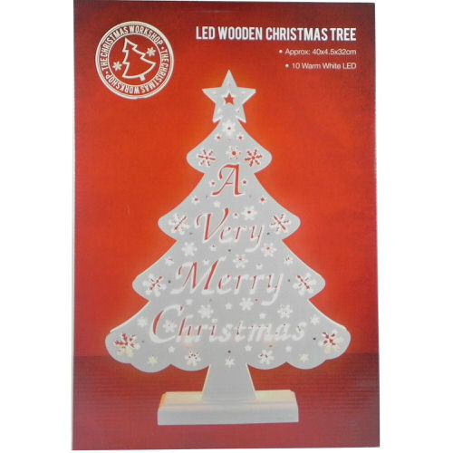 """""""A Very Merry Christmas"""" LED Wooden Christmas Tree"""