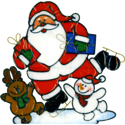 Christmas Santa with Mini Snowman & Reindeer Window Sticker