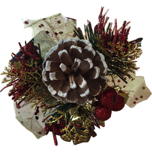 Christmas Pinecone Pick in Red