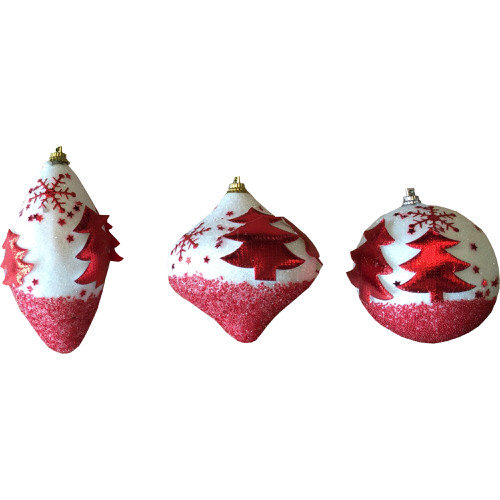 Iridescent Tree Bauble Decoration in Red (1 Bauble)