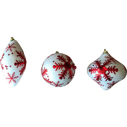 Iridescent Snowflake Bauble Decoration in Red (1 Bauble)