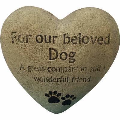 Heart Shaped Dog Pet Memorial Stone