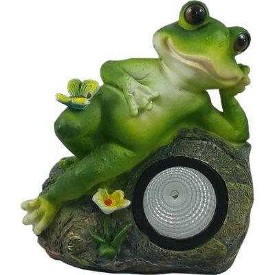 Solar Powered Relaxing Frog Garden Spotlight Ornament