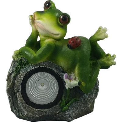 Solar Powered Thinking Frog Garden Spotlight Ornament