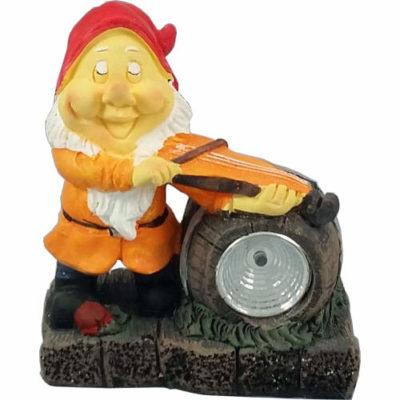 Solar Powered Musician Garden Gnome Spotlight Ornament