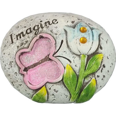 "Butterfly Glitter Message Stone ""Imagine"""