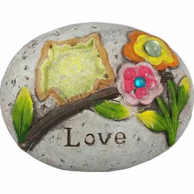 "Owl Glitter Message Stone ""Love"""