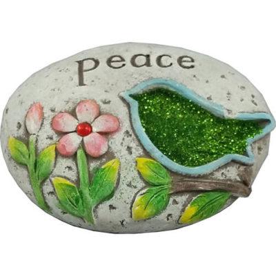 "Green Bird Glitter Message Stone ""Peace"""