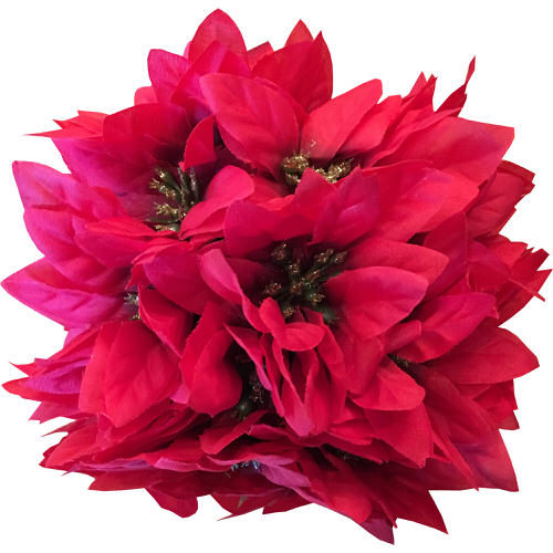 Hanging Poinsettia Ball in Red