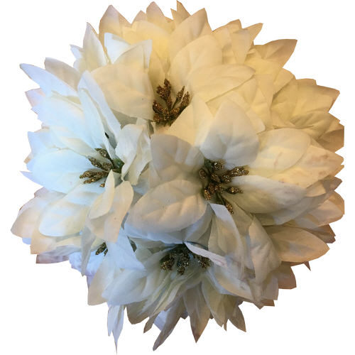 Hanging Poinsettia Ball in White