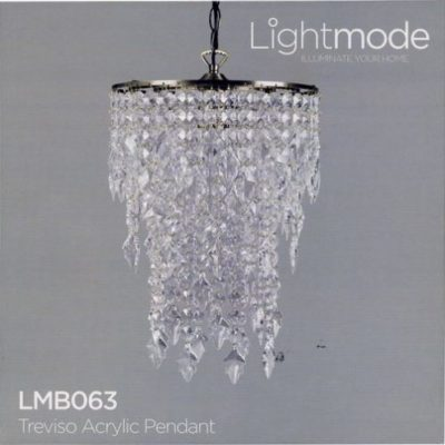 Lightmode Melrose Acrylic Pendant Chrome Finish Ceiling Light Lampshade Plum LMB075