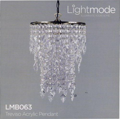 Lightmode Melrose Acrylic Pendant Chrome Finish Ceiling Light Lampshade Plum LMB075