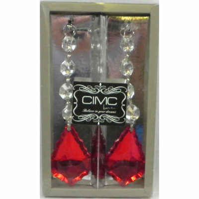 Cut Glass Hanging Beads Red